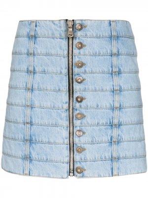 Джинсовая юбка мини со вставками Faith Connexion. Цвет: синий