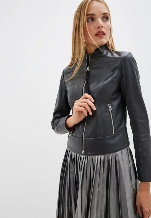 Куртка кожаная Sportmax Code. Цвет: серый