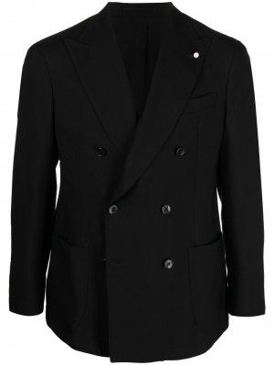 Однобортный пиджак строгого кроя LUIGI BIANCHI MANTOVA. Цвет: черный