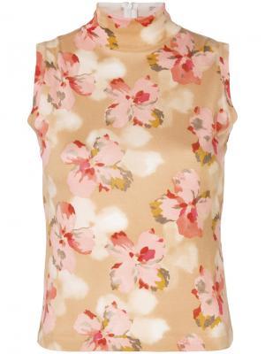 Топ с высоким воротником цветочным принтом Christian Dior Pre-Owned. Цвет: желтый
