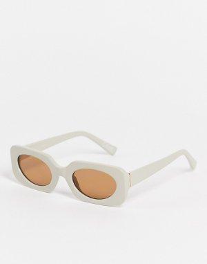 Квадратные солнцезащитные очки бежевого цвета среднего размера с тонированными стеклами -Светло-бежевый цвет ASOS DESIGN