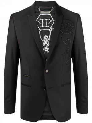 Пиджак Skeleton с вышивкой Philipp Plein. Цвет: черный