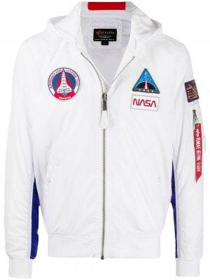 Куртка MA-1 TT NASA с капюшоном Alpha Industries. Цвет: белый