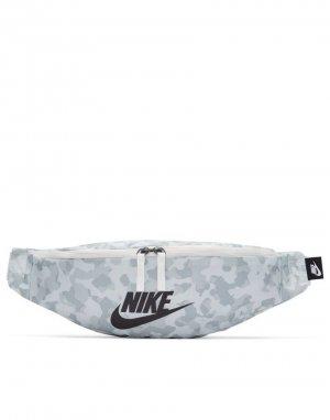 Бежевая сумка-кошелек на пояс с камуфляжным принтом Heritage-Белый Nike