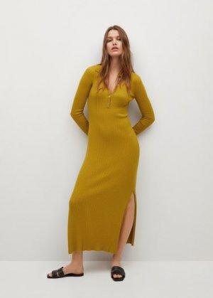 Миди-платье в резинку - Polin-i Mango. Цвет: хаки