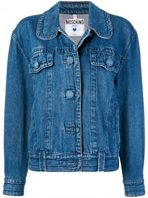 Джинсовая куртка с круглым воротником Moschino Pre-Owned. Цвет: синий