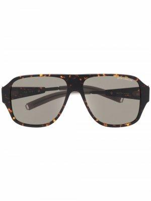 Солнцезащитные очки-авиаторы черепаховой расцветки Dita Eyewear. Цвет: черный