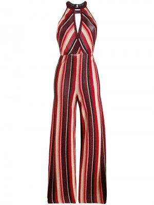 Полосатый комбинезон с вырезом халтер Aniye By. Цвет: красный