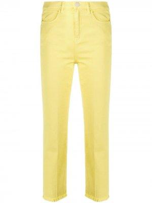 Укороченные джинсы с бахромой Pinko. Цвет: желтый