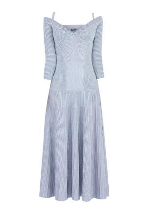 Трикотажное платье с открытыми плечами и юбкой мягкими складками ALEXANDER MCQUEEN. Цвет: серый
