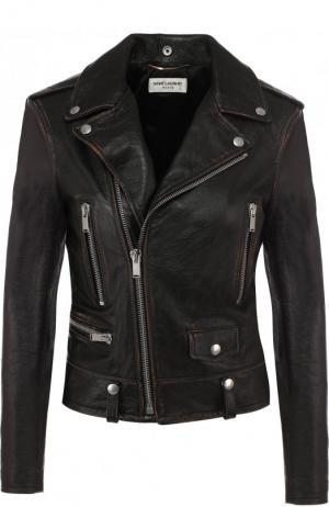 Однотонная кожаная куртка с косой молнией Saint Laurent. Цвет: чёрный