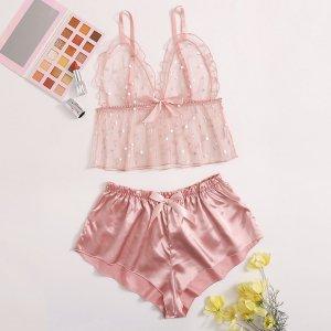 Розовый Декоративный край Небольшие точки Сексуальное женское белье SHEIN. Цвет: розовые