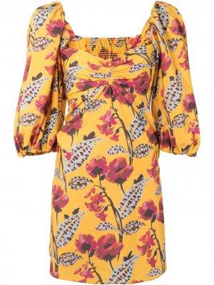 Платье мини с цветочным принтом и пышными рукавами A.L.C.. Цвет: желтый