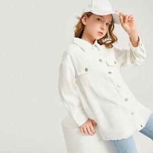 Джинсовая куртка с карманом для девочек SHEIN. Цвет: белый