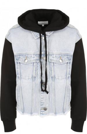 Джинсовая куртка с контрастными рукавами и капюшоном Current/Elliott. Цвет: голубой