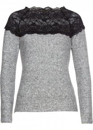 Пуловер с кружевной отделкой bonprix. Цвет: серый