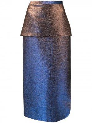 Юбка Bella с эффектом металлик CAMILLA AND MARC. Цвет: синий