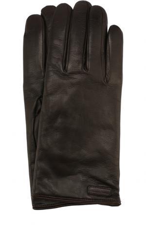 Кожаные перчатки Dolce & Gabbana. Цвет: темно-коричневый