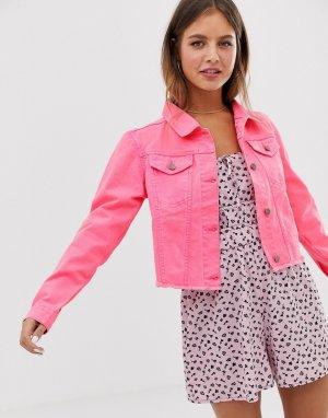 Укороченная джинсовая куртка неоновой расцветки Brave Soul