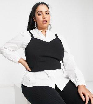 Белая рубашка и черный жилет верхним слоем -Многоцветный Vero Moda Curve