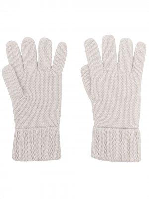 Перчатки из органического кашемира крупной вязки N.Peal. Цвет: серый