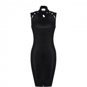 Кожаное мини-платье на молнии Jitrois. Цвет: чёрный