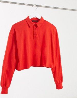 Красное свободное укороченное поло с длинными рукавами -Красный ASOS DESIGN