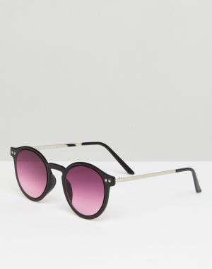 Круглые солнцезащитные очки в черной оправе British Summer Spitfire. Цвет: черный