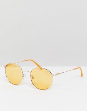 Круглые солнцезащитные очки с желтыми стеклами CK18104S-Золотой Calvin Klein