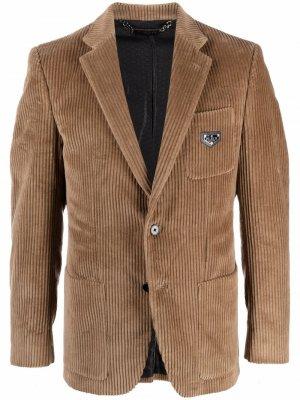 Вельветовый однобортный пиджак Philipp Plein. Цвет: нейтральные цвета