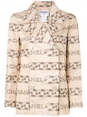 Куртка 2001-го года с длинными рукавами Chanel Pre-Owned. Цвет: нейтральные цвета