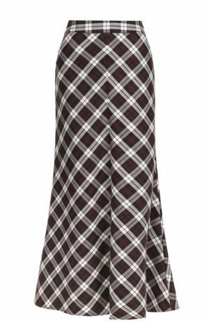 Расклешенная юбка-макси в клетку Walk of Shame. Цвет: коричневый