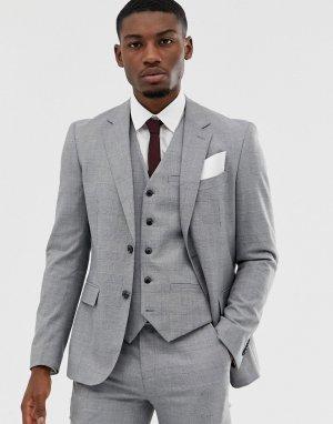 Серый узкий пиджак Celio