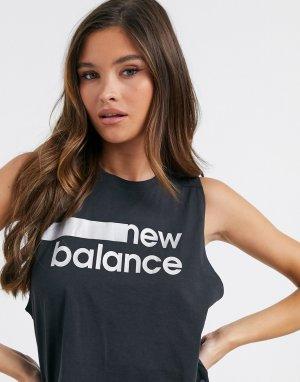 Черная короткая майка с логотипом -Черный New Balance