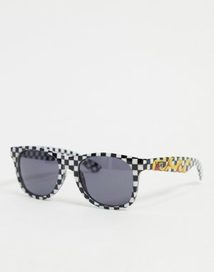 Солнцезащитные очки в черно-белой оправе клетку с отделкой виде языков пламени spicoli 4-Черный цвет Vans