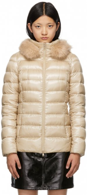Khaki Ultralight Down Fitted Jacket Herno. Цвет: 2100 almond