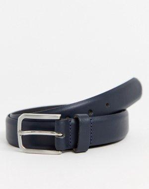 Темно-синий узкий кожаный ремень ASOS DESIGN