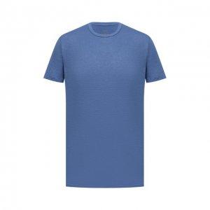 Льняная футболка Altea. Цвет: синий