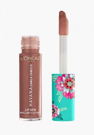 Блеск для губ LOreal Paris L'Oreal Lip Dew в эксклюзивной коллекции Havana от L'Oreal x Camila Cabello, оттенок 03, Desnudo. Цвет: коричневый