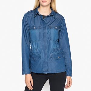 Жакет приталенного покроя в стиле милитари с рисунком сзади IKKS. Цвет: синий