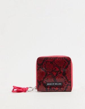 Красный кошелек со змеиным принтом и контрастной молнией с розовым бегунком House of Holland