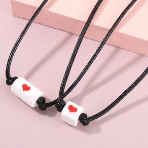 2шт Детское ожерелье с узором сердечка SHEIN. Цвет: черный и белый