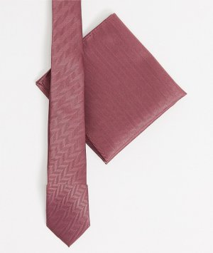 Фактурный бордовый галстук и платок для нагрудного кармана -Красный ASOS DESIGN