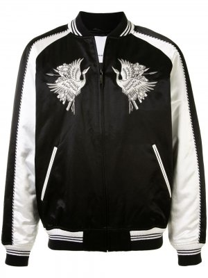 Атласная куртка-бомбер с аппликацией Ports V. Цвет: черный