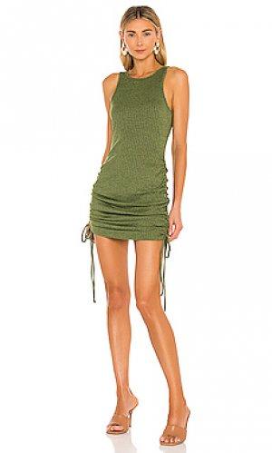 Мини платье juliet Lovers + Friends. Цвет: оливковый