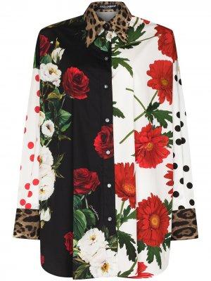 Рубашка с длинными рукавами и принтом Dolce & Gabbana. Цвет: белый