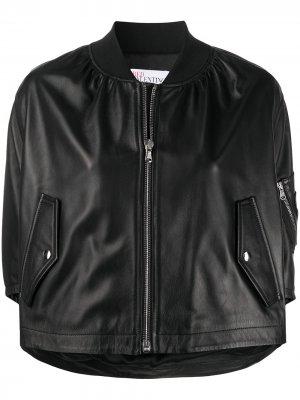 Укороченная куртка-бомбер с оборками RedValentino. Цвет: черный