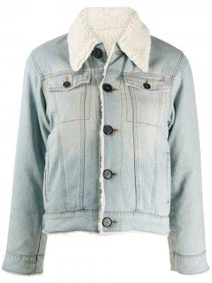 Джинсовая куртка с подкладкой из овчины Victoria Beckham. Цвет: синий