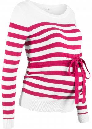 Пуловер хлопковый для беременных bonprix. Цвет: ярко-розовый