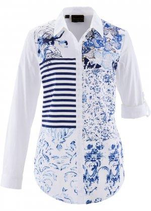 Блузка с принтом пэчворк bonprix. Цвет: синий